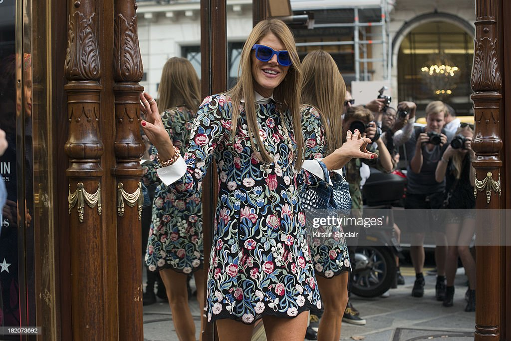 Editor at large of Vogue Japan <a gi-track='captionPersonalityLinkClicked' href=/galleries/search?phrase=Anna+Dello+Russo&family=editorial&specificpeople=4391772 ng-click='$event.stopPropagation()'>Anna Dello Russo</a> on day 3 of Paris Fashion Week Spring/Summer 2014, Paris September 26, 2013 in Paris, London.