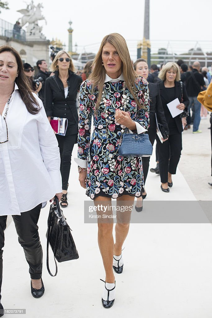 Editor at large of Vogue Japan <a gi-track='captionPersonalityLinkClicked' href=/galleries/search?phrase=Anna+Dello+Russo&family=editorial&specificpeople=4391772 ng-click='$event.stopPropagation()'>Anna Dello Russo</a> on day 3 of Paris Fashion Week Spring/Summer 2014, Paris September 26, 2013 in Paris, France.