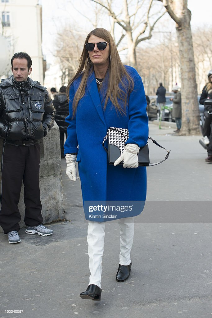 Editor at large of Vogue Japan Anna Dello Russo wears a Celine coat and a Proenza Schouler bag on day 4 of Paris Womens Fashion Week Autumn/Winter 2013 on March 03, 2013 in Paris, France.
