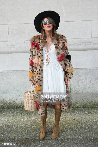 Editor at large of Vogue Japan Anna Dello Russo wears a Chloe dress at the Chloe show on day 6 of Paris Collections Women on March 08 2015 in Paris...