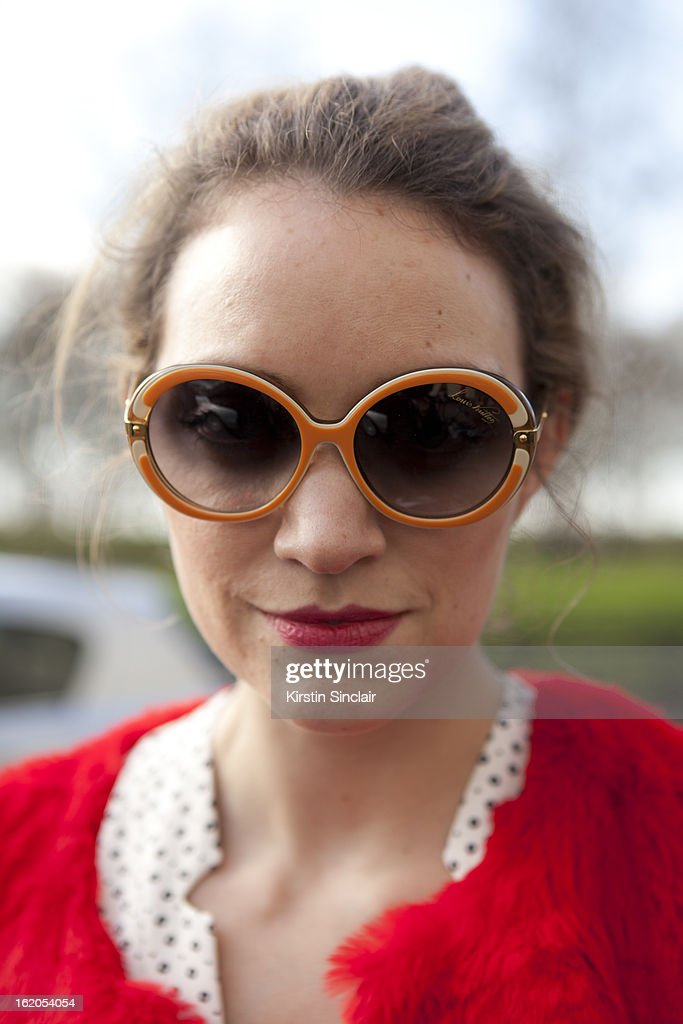 Editor at Tatler Mariella Tandy wears Louis Vuitton glasses, Elizabeth and James jacket, Tara Jarmon suit on day 3 of London Womens Fashion Week Autumn/Winter 2013 on February 17, 2013 in London, England.