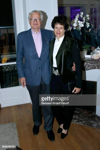 Editor Bernard Fixot and his wife ValerieAnne Giscard d'Estaing attend the Dinner after Sylvie Vartan performed at L'Olympia on September 16 2017 in...