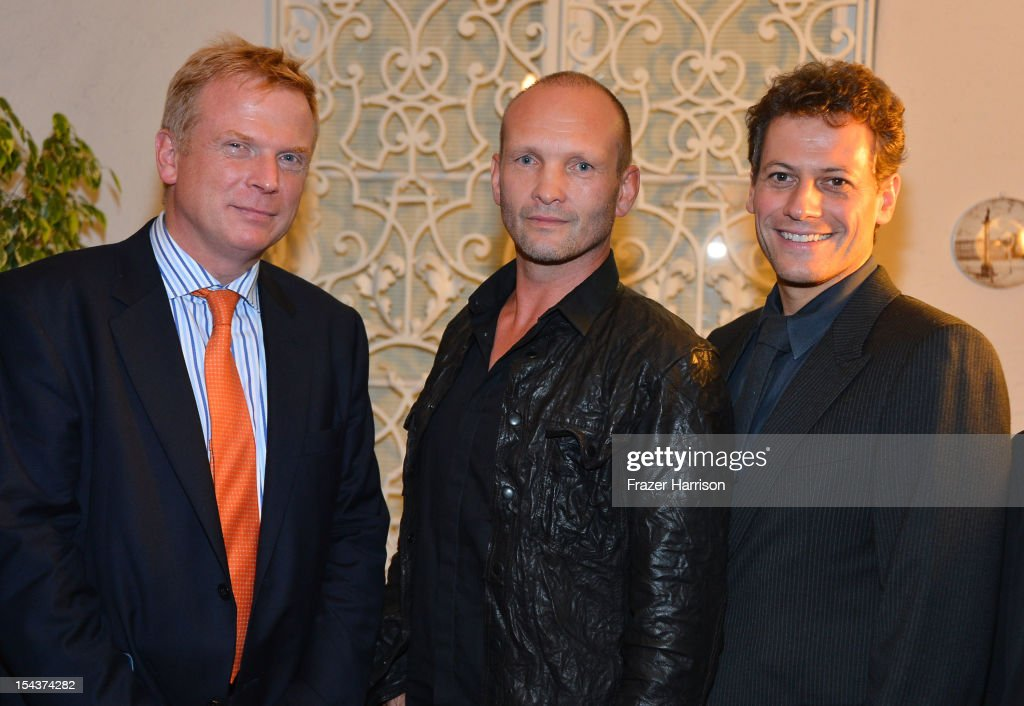 Editor Chris Williams, actor Andrew Howard, actor <a gi-track='captionPersonalityLinkClicked' href=/galleries/search?phrase=Ioan+Gruffudd&family=editorial&specificpeople=212745 ng-click='$event.stopPropagation()'>Ioan Gruffudd</a> attend Wales Celebrates the launch of 'The Richard Burton Diaries' hosted by The Welsh Government, Swansea University and Yale University Press held at the British Consul-General residence, Hancock Park on October 18, 2012 in Los Angeles, California.