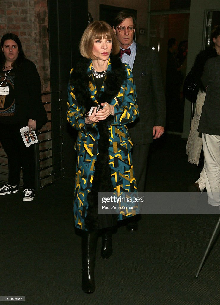 Editor in Chief of American Vogue Anna Wintour attends the 'Alan Partridge' New York screening at Landmark's Sunshine Cinema on April 2, 2014 in New York City.