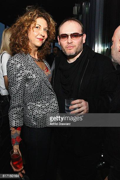 Editor in Chief of Fashion Daily Mag Brigitte Segura and photographer Vital Agibalow attends as DuJour's Jason Binn hosts the launch of Behati X...