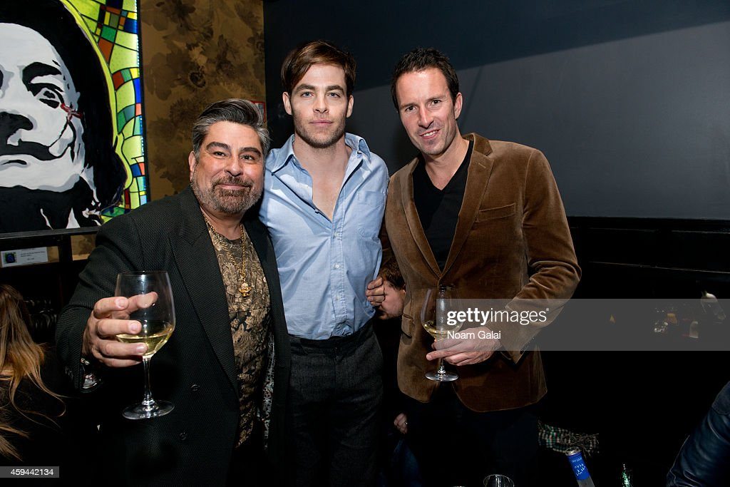 Editor in Chief of Flaunt Magazine Luis Barajas, actor Chris Pine and Trent Fraser attend the Celebration of Chris Pine's cover of Flaunt Magazine at Beautique on November 22, 2014 in New York City.
