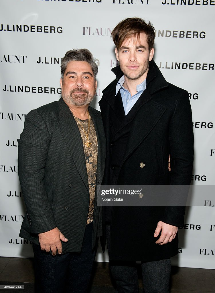 Editor in Chief of Flaunt Magazine Luis Barajas and actor Chris Pine attend the Celebration of Chris Pine's cover of Flaunt Magazine at Beautique on November 22, 2014 in New York City.
