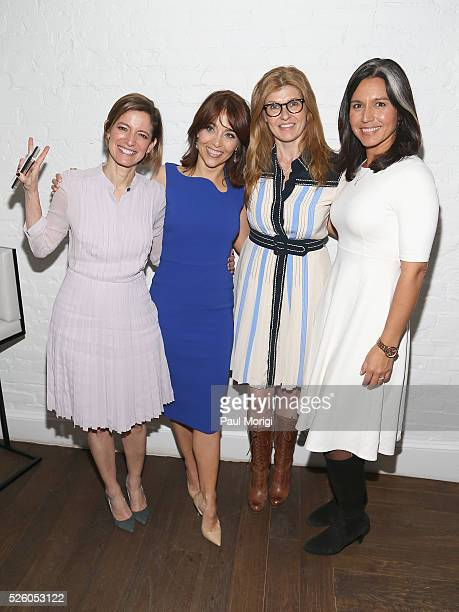 Editor in Chief of Glamour magazine Cindi Leive VP Chief Privacy Officer Policy at Facebook Erin Egan actress Connie Britton and Congresswoman Tulsi...