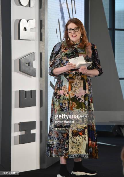 Editor in Chief of Harper's Bazaar Glenda Bailey speaks onstage at Hearst Magazines' Unbound Access MagFront at Hearst Tower on October 17 2017 in...