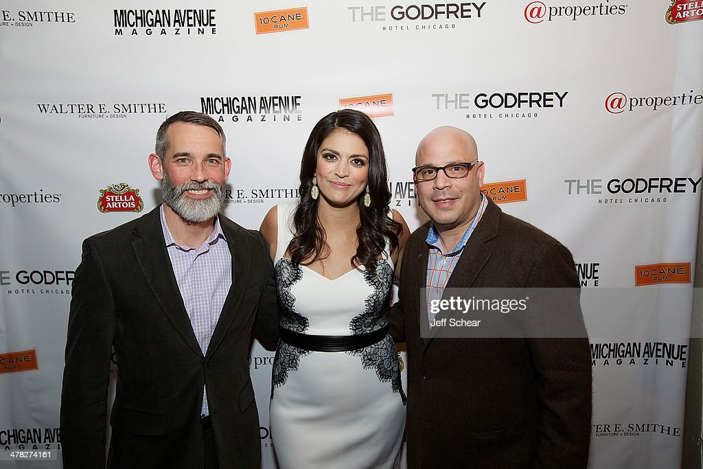 Editor in Chief of Michigan Avenue Magazine J.P. Anderson, <a gi-track='captionPersonalityLinkClicked' href=/galleries/search?phrase=Cecily+Strong&family=editorial&specificpeople=9951067 ng-click='$event.stopPropagation()'>Cecily Strong</a>, and President and Publisher of Michigan Avenue Magazine Dan Uslan attend the Michigan Avenue Magazine Spring Issue release celebration hosted by <a gi-track='captionPersonalityLinkClicked' href=/galleries/search?phrase=Cecily+Strong&family=editorial&specificpeople=9951067 ng-click='$event.stopPropagation()'>Cecily Strong</a> at The Godfrey Hotel on March 12, 2014 in Chicago, Illinois.