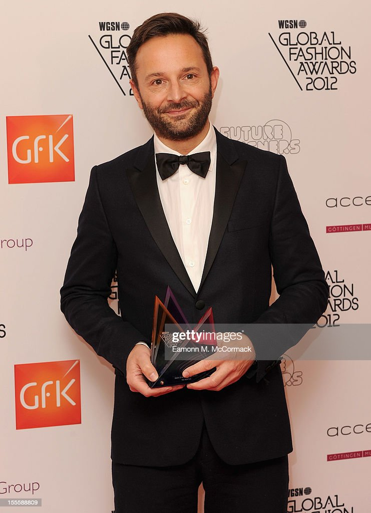 Editor in Chief of Mr Porter, Jeremy Langmead with his Best E-Store pure play award during the WGSN Global Fashion Awards at The Savoy Hotel on November 5, 2012 in London, England.