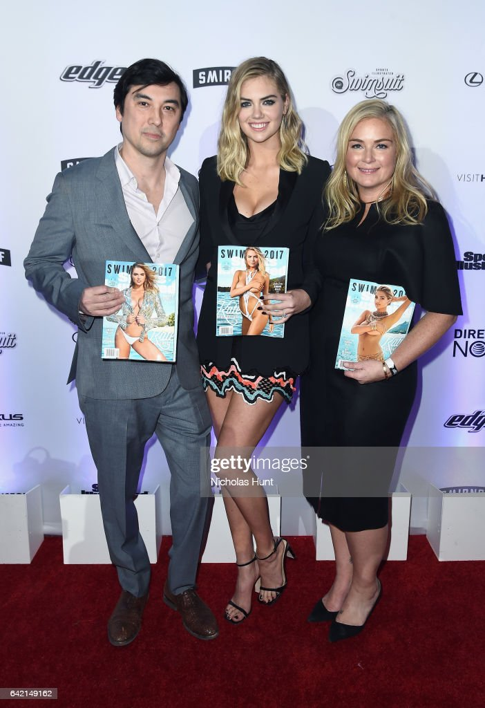 Editor in Chief of Sports Illustrated Chris Stone, Kate Upton, and Sports Illustrated Swimsuit editor MJ Day attend Sports Illustrated Swimsuit 2017 NYC launch event at Center415 Event Space on February 16, 2017 in New York City.