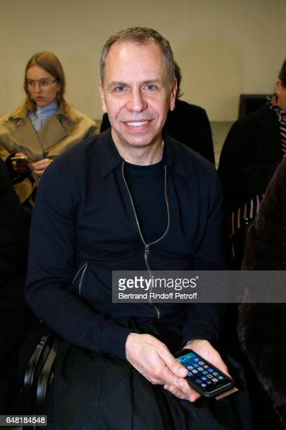 Editor in chief of the Womens Wear Daily Miles Socha attends the Balenciaga show as part of the Paris Fashion Week Womenswear Fall/Winter 2017/2018...