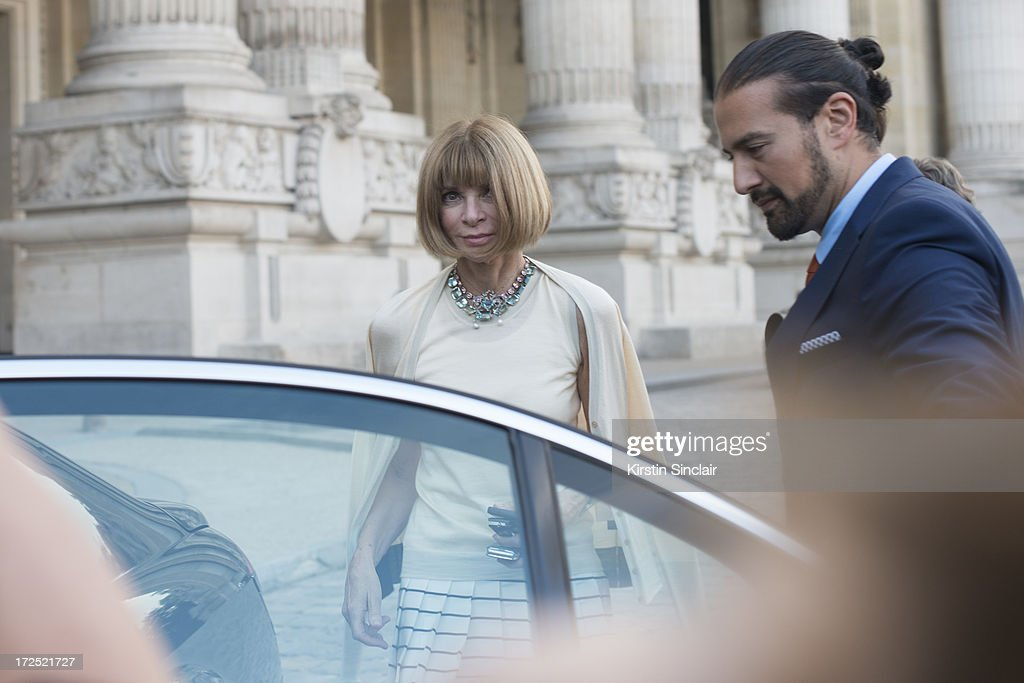 Editor in Chief of US Vogue Magazine <a gi-track='captionPersonalityLinkClicked' href=/galleries/search?phrase=Anna+Wintour&family=editorial&specificpeople=202210 ng-click='$event.stopPropagation()'>Anna Wintour</a> on day 1 of Paris Collections: Womens Haute Couture on July 01, 2013 in Paris, France.