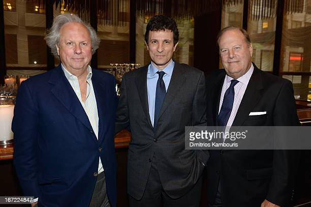 Editor in Chief of Vanity Fair Graydon Carter Editor of The New Yorker David Remnick and CEO of Conde Nast Chuck Townsend attend the Conde Nast...