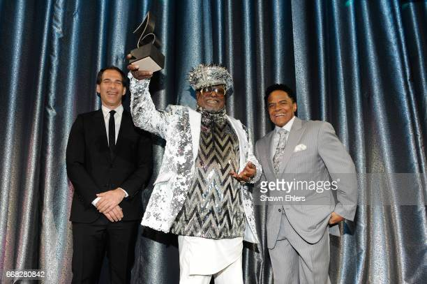 Editor in Chief of Village Voice Joe Levy Singer/Songwriter George Clinton and SESAC VP of Creative Services James Leach onstage at the 2017 SESAC...