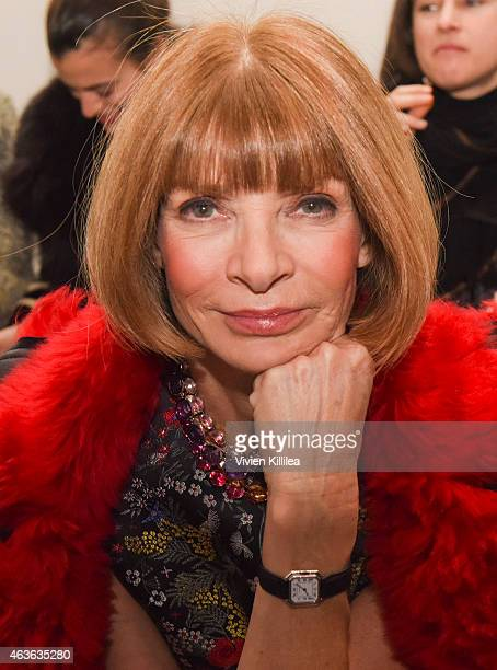 Editor in Chief of Vogue Anna Wintour attends the rag bone show during MercedesBenz Fashion Week Fall 2015 at Spring Studios on February 16 2015 in...