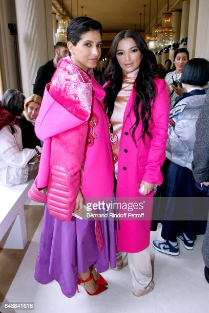 Editor in Chief of Vogue Arabia Princess Deena Aljuhani Abdulaziz and Fajer Fahad attend the Giambattista Valli show as part of the Paris Fashion...