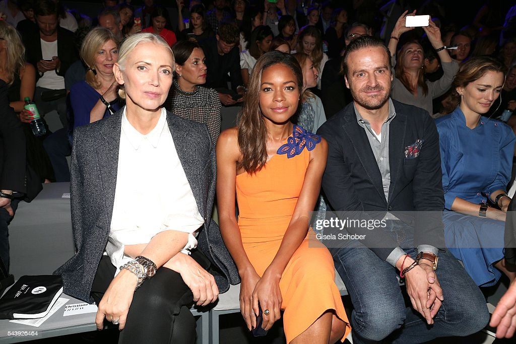 Editor in chief of Vogue, <a gi-track='captionPersonalityLinkClicked' href=/galleries/search?phrase=Christiane+Arp&family=editorial&specificpeople=2942750 ng-click='$event.stopPropagation()'>Christiane Arp</a>, Naomi Harris and John Cloppenburg attend the 'Designer for Tomorrow' during the Mercedes-Benz Fashion Week Berlin Spring/Summer 2017 at Erika Hess Eisstadion on June 30, 2016 in Berlin, Germany.