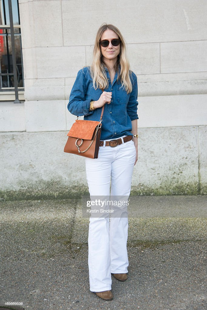 Editor in Chief of Vogue France Jennifer Neyt wears a Chloe bag at the Chloe show on day 6 of Paris Collections Women on March 08 2015 in Paris France