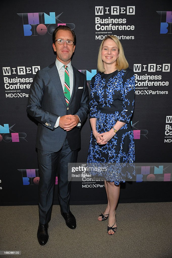 Editor in Chief of Wired, Scott Dadich and President and CEO of Yahoo!, <a gi-track='captionPersonalityLinkClicked' href=/galleries/search?phrase=Marissa+Mayer&family=editorial&specificpeople=5577875 ng-click='$event.stopPropagation()'>Marissa Mayer</a> attend the WIRED Business Conference: Think Bigger at Museum of Jewish Heritage on May 7, 2013 in New York City.