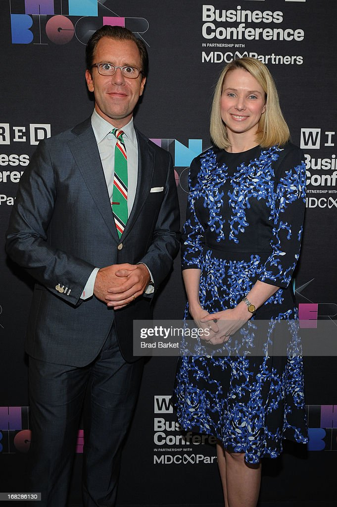 Editor in Chief of Wired, Scott Dadich and President and CEO of Yahoo!, Marissa Mayer attend the WIRED Business Conference: Think Bigger at Museum of Jewish Heritage on May 7, 2013 in New York City.