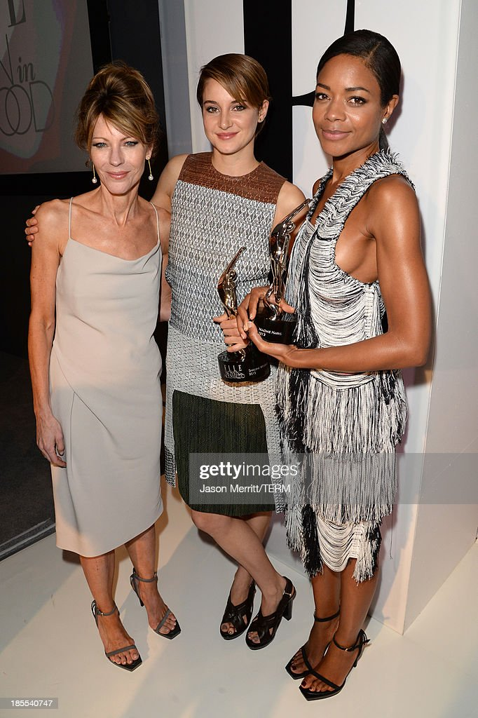 Editor in Chief Robbie Myers, Shailene Woodley, and Naomie Harris attend ELLE's 20th Annual Women In Hollywood Celebration at Four Seasons Hotel Los Angeles at Beverly Hills on October 21, 2013 in Beverly Hills, California.