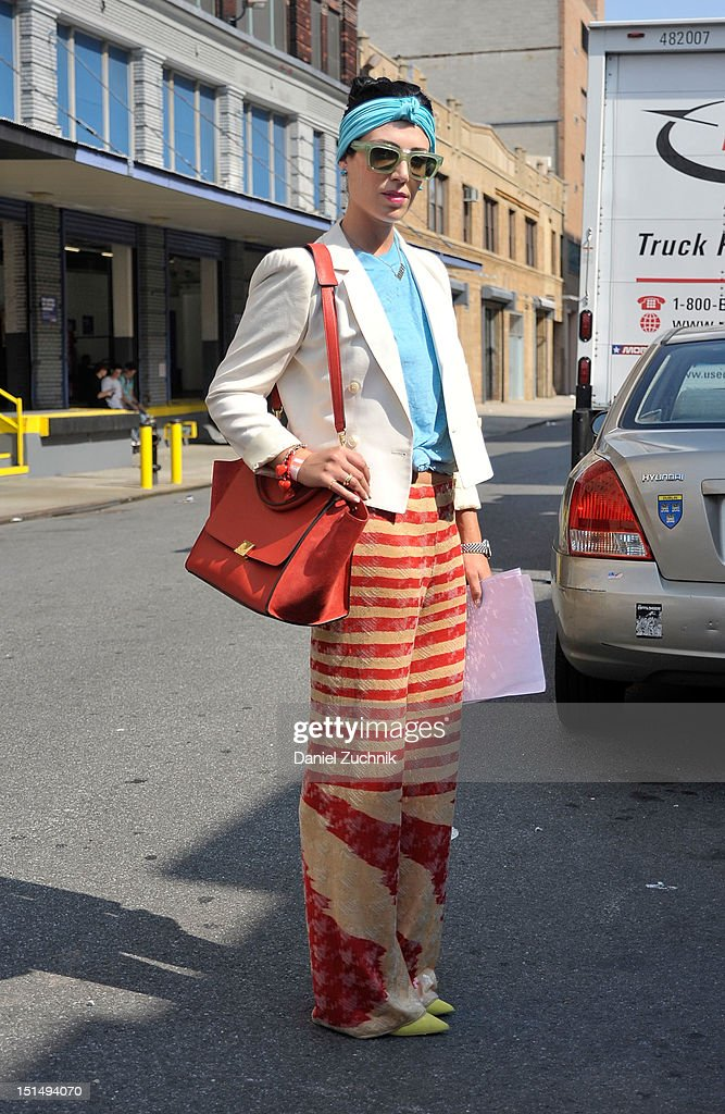 Editor in Chief Stephanie Singer is seen outside the General Idea show on September 7, 2012 in New York City.