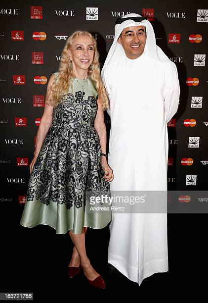 Editor in Chief Vogue Italia Franca Sozzani and Emaar Properties Chairman Mohamed Alabbar attends the Vogue Fashion Dubai Experience press conference...