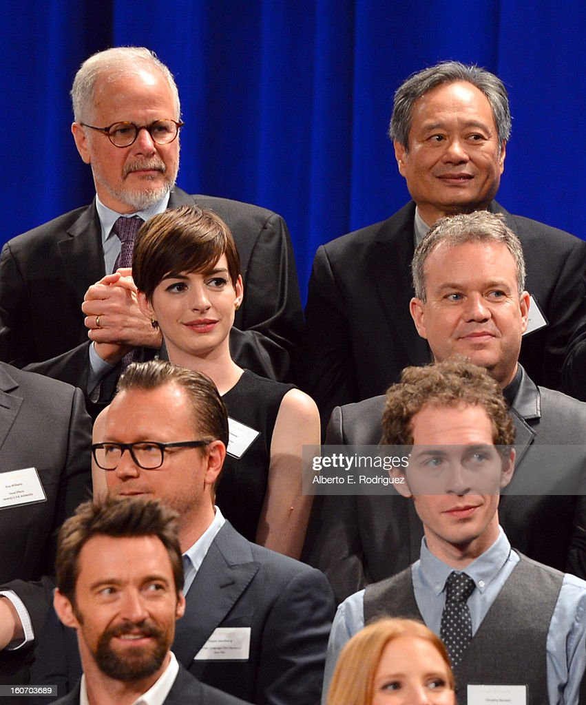 Editor Jay Cassidy, director Ang Lee, actress Anne Hathaway, special effects supervisor Neil Corbould, director Espen Sandberg, Filmmaker Timothy Reckart and actor Hugh Jackman attend the 85th Academy Awards Nominations Luncheon at The Beverly Hilton Hotel on February 4, 2013 in Beverly Hills, California.