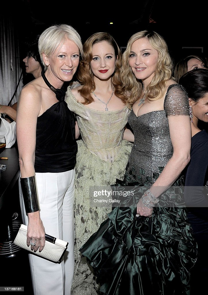 Editor Joanna Coles, actress <a gi-track='captionPersonalityLinkClicked' href=/galleries/search?phrase=Andrea+Riseborough&family=editorial&specificpeople=4395380 ng-click='$event.stopPropagation()'>Andrea Riseborough</a> and Singer-director <a gi-track='captionPersonalityLinkClicked' href=/galleries/search?phrase=Madonna+-+Singer&family=editorial&specificpeople=156408 ng-click='$event.stopPropagation()'>Madonna</a> attend The Weinstein Company's 2012 Golden Globe Awards After Party with Chopard, Marie Claire and HP at The Beverly Hilton hotel on January 15, 2012 in Beverly Hills, California.
