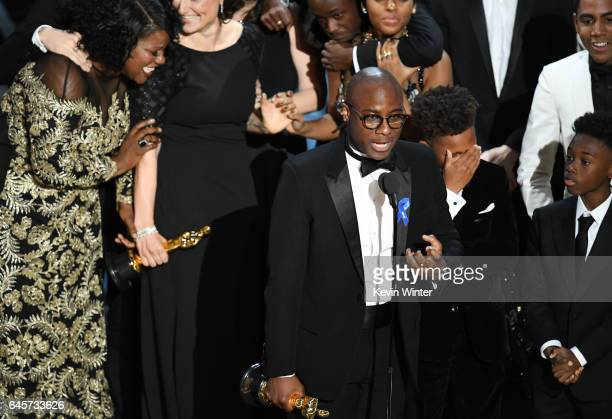 Editor Joi McMillon writer/director Barry Jenkins actors Jaden Piner and Alex R Hibbert accept Best Picture for 'Moonlight' onstage during the 89th...