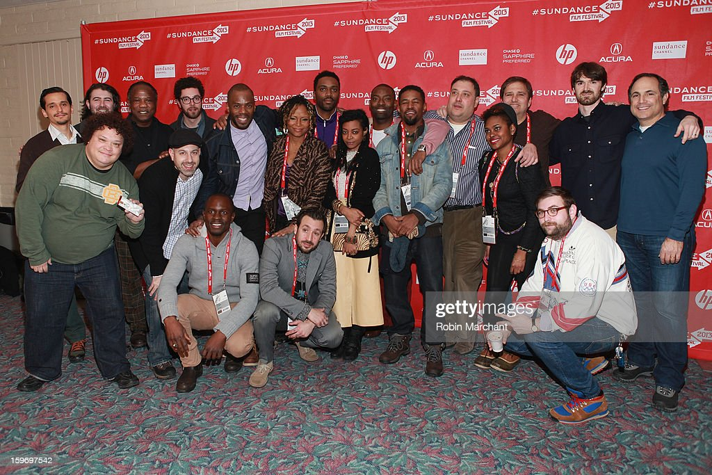 Editor Kristan Sprague, Pierce Various, actor Isiah Whitlock Jr., sound designer Eli Cohn, actor Colman Domingo, actress Tonya Pinkins, director Shaka King, actress Trae Harris, actor Hassan Johnson, actor Amari Cheatom, producer Jim Wareck, costume designer Charlese Antoinette Jones, executive producer Andy Sawyer, producer Michael Matthews, producer Neil Katz and (Bottom L-R) actor Adrian Martinez, co-producer Jason Sokoloff, producer Gbenga Akinnagbe, actor Tone Tank and composer Scott Thorough attend the 'Newlyweeds' Premiere at Prospector Square on January 18, 2013 in Park City, Utah.
