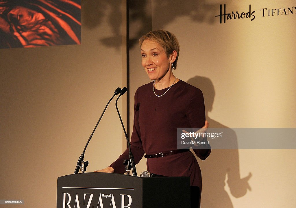 (MANDATORY CREDIT PHOTO BY DAVE M BENETT/GETTY IMAGES REQUIRED) Editor of Harper's Bazaar UK Justine Picardie speaks at the Harper's Bazaar Women of the Year Awards 2012, in association with Estee Lauder, Harrods and Tiffany & Co., at Claridge's Hotel on October 31, 2012 in London, England.