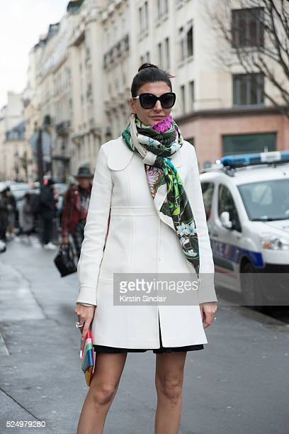 Editor of L'Uomo Vogue a freelance stylist and contributing fashion editor to W magazine Giovanna Battaglia wears Chanel Sunglasses on day 7 during...