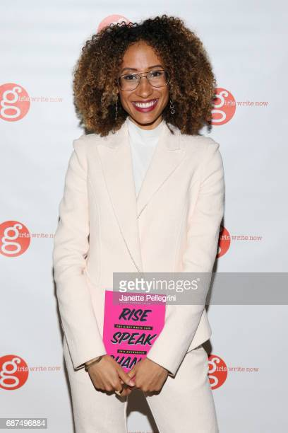 Editor of Teen Vogue Elaine Welteroth attends holding 'Rise Speak Change' Girls Right Now 2017 Anthology the Fifth Annual Girls Write Now Awards at...