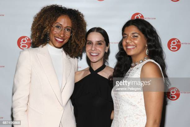 Editor of Teen Vogue Elaine Welteroth Maya Nussbaum Founder and Exec Director of Girls Write Now and GWN mentee Daleelah Saleh attend the Fifth...