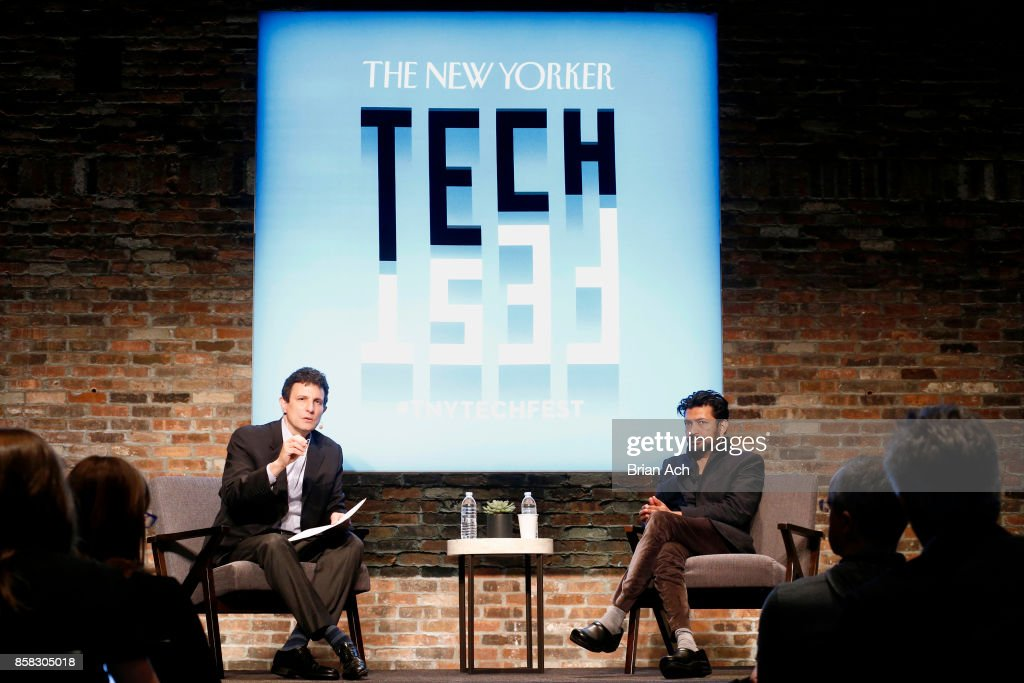 Editor of The New Yorker David Remnick and Oncologist and assistant professor of medicine at Columbia University Siddhartha Mukherjee speaks onstage during the 2017 New Yorker TechFest at Cedar Lake on October 6, 2017 in New York City.