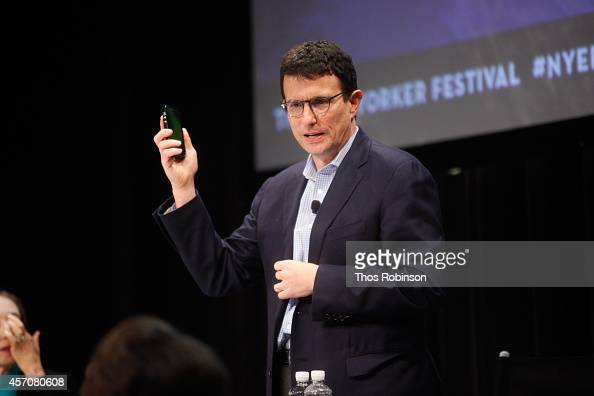 Editor of The New Yorker David Remnick moderates a panel discussion 'You The Jury Cats Vs Dogs' during the New Yorker Festival on October 11 2014 in...