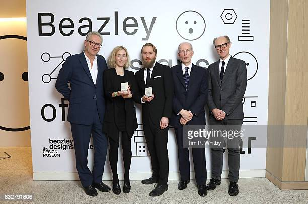Editor of The Times John Witherow Winners of the Beazley Design of the Year Marta Terne and Christian Gustafsson of Better Shelter CEO of Beazley...