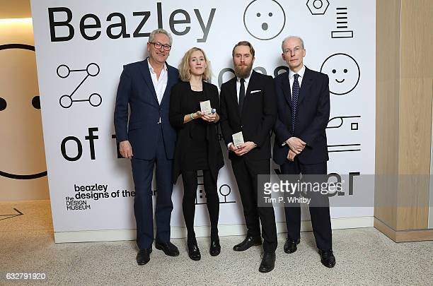 Editor of The Times John Witherow Winners of the Beazley Design of the Year Marta Terne and Christian Gustafsson of Better Shelter and CEO of Beazley...