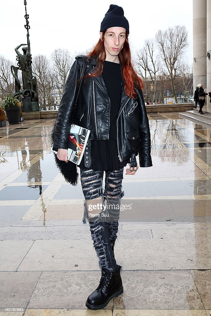Editor of Umno Magazine Domino wearsH&M Trousers,vintage Boots,vintage leather Jacket,H&M Skirt,Mango Bag,DKNY Jumper on January 15, 2014 in Paris, France.