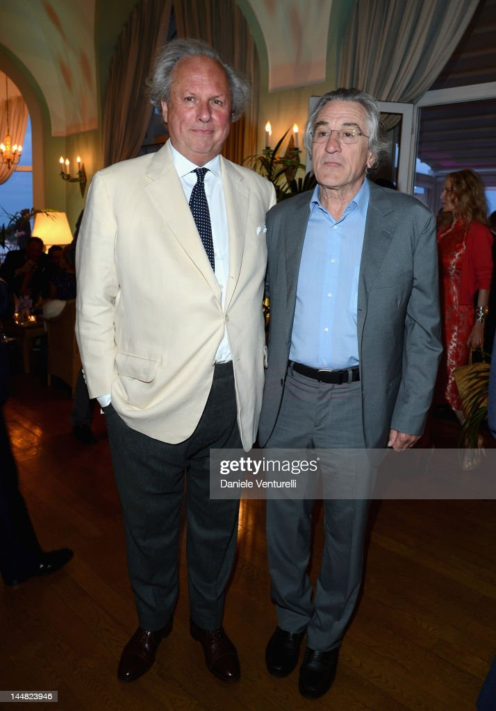 Editor of Vanity Fair Graydon Carter and actor Robert De Niro attend the Vanity Fair and Gucci Party at Hotel Du Cap during 65th Annual Cannes Film Festival on May 19, 2012 in Antibes, France.