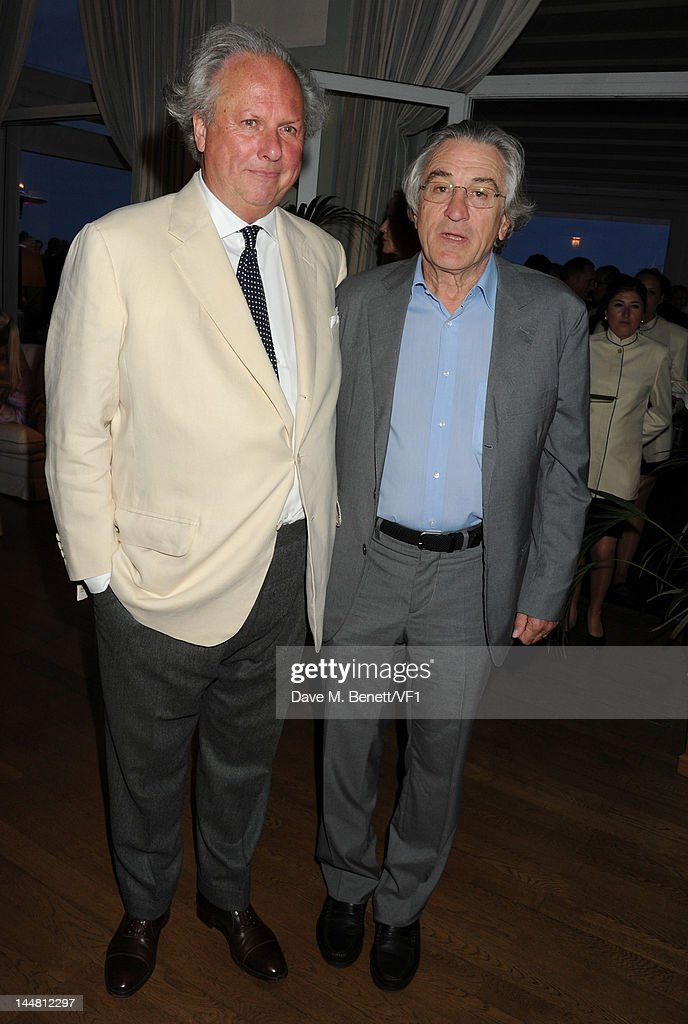 Editor of Vanity Fair Graydon Carter (L) and actor Robert De Niro attends the Vanity Fair And Gucci Party during the 65th Annual Cannes Film Festival at Hotel Du Cap on May 19, 2012 in Antibes, France.