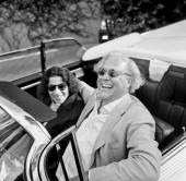 Editor of Vanity Fair Graydon Carter and writer Fran Lebowitz are photographed for Vanity Fair Magazine on February 22 2009 in Los Angeles California...