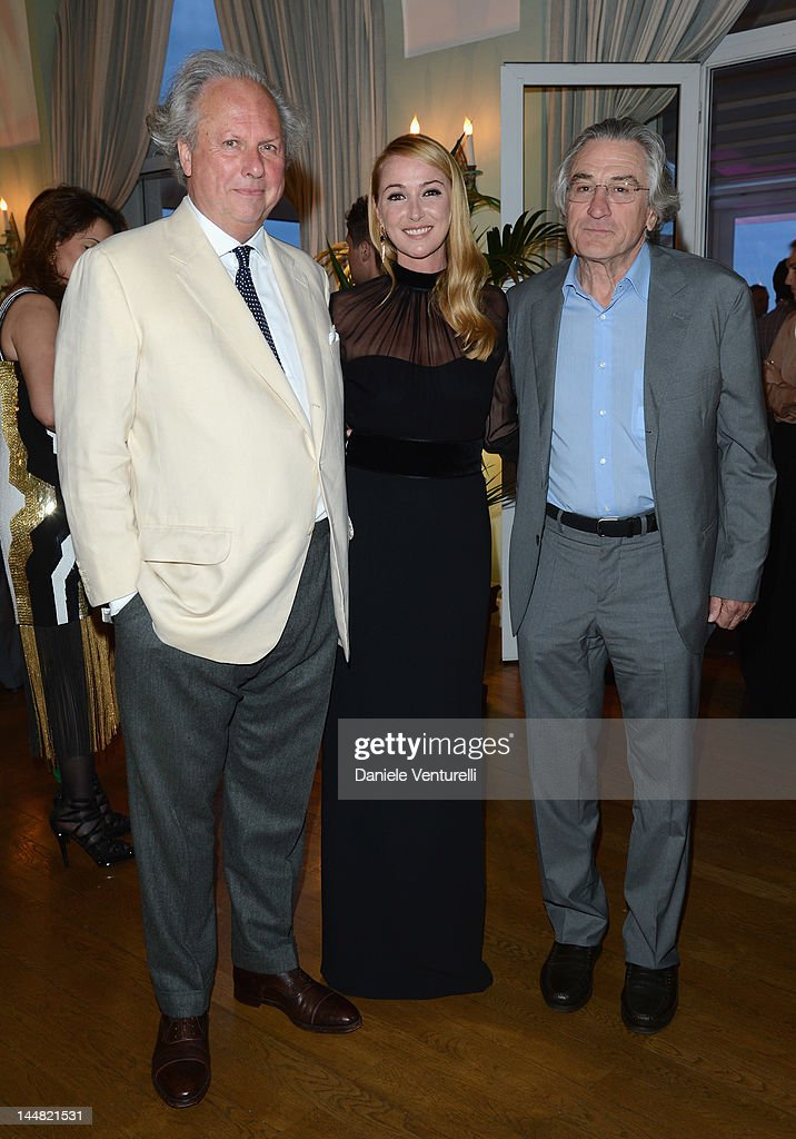 Editor of Vanity Fair Graydon Carter, Creative Director Frida Giannini and Robert De Niro attend the Vanity Fair and Gucci Party at Hotel Du Cap during 65th Annual Cannes Film Festival on May 19, 2012 in Antibes, France.