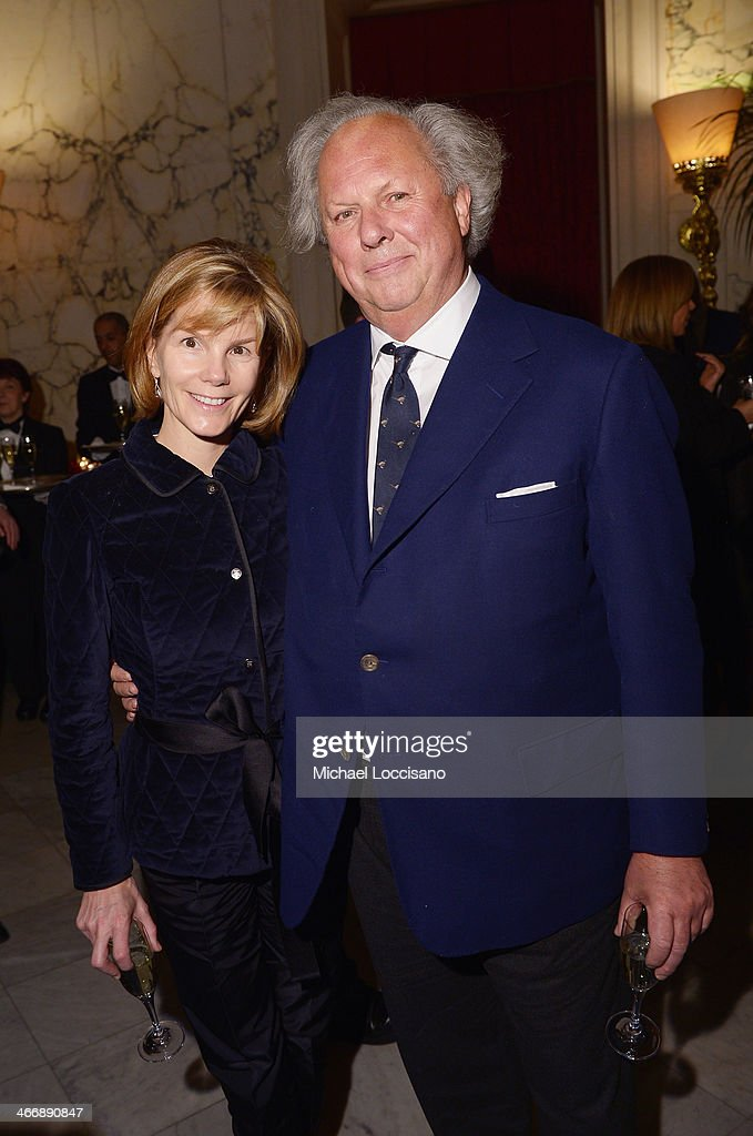 Editor of Vanity Fair Graydon Carter (R) wife Anna Scott attend the after party following the 'Monuments Men' premiere at The Metropolitain Club on February 4, 2014 in New York City.