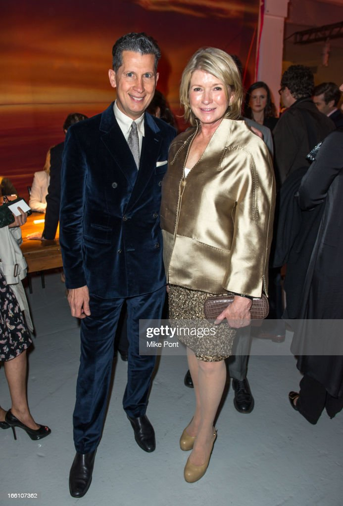 Editor of W magazine <a gi-track='captionPersonalityLinkClicked' href=/galleries/search?phrase=Stefano+Tonchi&family=editorial&specificpeople=2497117 ng-click='$event.stopPropagation()'>Stefano Tonchi</a> and <a gi-track='captionPersonalityLinkClicked' href=/galleries/search?phrase=Martha+Stewart&family=editorial&specificpeople=202905 ng-click='$event.stopPropagation()'>Martha Stewart</a> attend Ballroom Marfa 10th Year Celebration at Center 548 on April 8, 2013 in New York City.