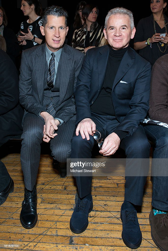 Editor of W magazine Stefano Tonchi (L) and Massimo Ferretti attend Philosophy By Natalie Ratabesi during Fall 2013 Mercedes-Benz Fashion Week on February 13, 2013 in New York City.