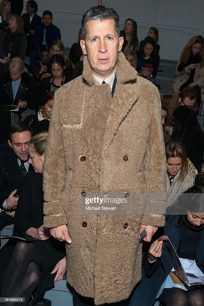 Editor of W magazine <a gi-track='captionPersonalityLinkClicked' href=/galleries/search?phrase=Stefano+Tonchi&family=editorial&specificpeople=2497117 ng-click='$event.stopPropagation()'>Stefano Tonchi</a> attends Vera Wang during fall 2013 Mercedes-Benz Fashion Week at The Stage at Lincoln Center on February 12, 2013 in New York City.